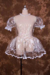 Sexy Lockable Clear organza Sissy Maid Short Dress Cosplay Costume Uniform[