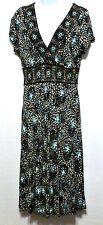 Charter Club Ladies Petite Brown~Aqua~White Rayon High Quality Dress - Size 8P