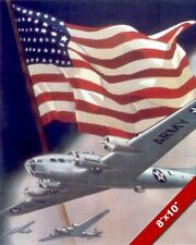UNITED STATES BOMBER PLANE WWII PROPAGANDA POSTER PAINTING REAL CANVASART PRINT