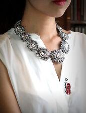 Collier Chaine Argenté Fleur Cristal Brillant Vintage Original Mariage JCR1 OSC