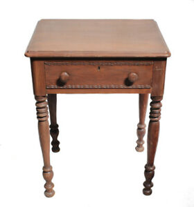 19th century American Walnut Side Occasional Table single drawer carved designs
