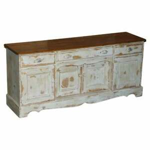 LOVELY VINTAGE HUNGARIAN HAND PAINTED AND ANTIQUED SIDEBOARD WITH DRAWERS