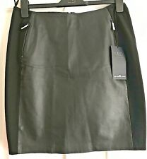 M&S COLLECTION Leather Mini Skirt Black size 12 :-) NEW !