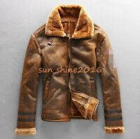 Mens warm  Lamb fur lining coat outwear bomber hooded sheepskin leather jacket