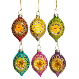 6 Vintage Style 6.5cm Open Face Christmas Tree Bauble Ornaments