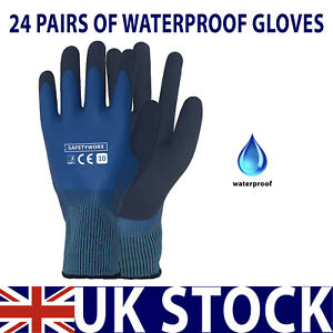24 PAIRS OF WATERPROOF LATEX RUBBER COATED HAND SAFETY GRIP WORK