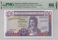 1986 GIBRALTAR British AdministN £50 PMG66EPQ GEM UNC【P-24】 'Prefix A' 078119