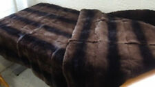 BRAND NEW DOUBLE SIDED BROWN REX RABBIT FUR BLANKET THROW SIZE 2.5 METER BY 1