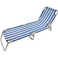 Blue & White Stripe Sun Lounger Bed Recliner Metal Frame Garden Relaxing Summer
