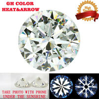 2 Ct Heart and Arrow GH Color Moissanite Loose Stone Round Excellent Cut 8 mm
