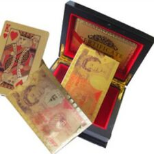 24k Gold Plated Playing Cards £50 Pound Full Poker Size /w Wooden Box