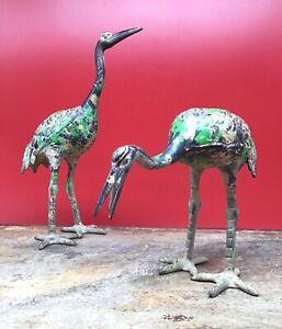 Antique Set JAPANESE cast iron or bronze CRANE sculptures polychrome patina vtg