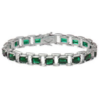 Sterling Silver Green Topaz Bracelet (15 CT)