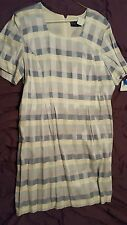 M.H.M melissa harper dress 16 misses NWT cream lilac lavender checked short slee