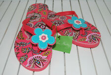 Vera Bradley Flip Flops Call Me Coral Womens Large L 9/10 Floral Applique NEW