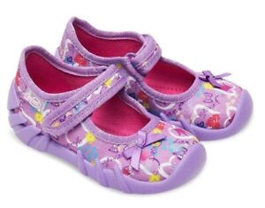 BABY KIDS BEFADO girls canvas shoes nursery slippers sandals size 4UK 4.5NEW