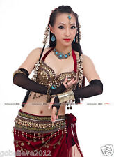 Brand New Handmade Sexy Belly Dance Costume 2PCS: Bra & Hip Scarf Wine Red #59