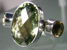 925 silver 8gr cocktail GREEN AMETHYST/Citrine ring O½/US 7.5