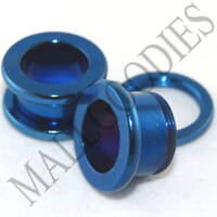 "0504 Blue Screw-on/fit Steel Flesh Tunnels 7/16"" Inch 11mm Ear Plugs"