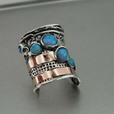 Hadar Designers Handmade 9k Gold 925 Silver Blue Opal Ring sz 6,7,8,9,10 (H g144