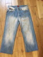 Wrangler Texas Pale Blue Straight Leg Jeans Waist 34 Short Leg 26