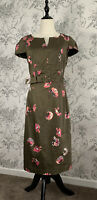 Boden Khaki Floral Beted Shift Dress Size 10R WH596