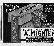 PARIS CALAIS ETS MIGNIEN DENTELLES TULLES RIDEAUX PETITE PUBLICITE 1921