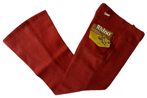 VINTAGE 70S RHINO RED BRUSHED COTTON FLARED FLARES TROUSERS-31 30 28 WAIST-NEW