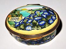 Halcyon Days Enamel Box - Year 2000 - Morning Glory Flowers & Sunrise & River