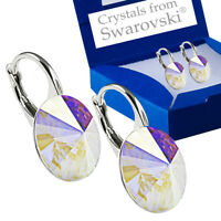 925 Sterling Silver Earrings Crystal AB Genuine 12mm Crystals from Swarovski®