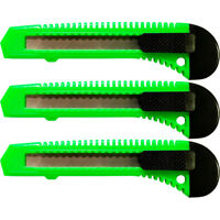 3 NEON GREEN Safety Box Cutter Utility Knife Retractable Snap off Razor Blade