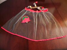 Vintage CHRISTMAS Hostess HALF APRON Sheer GREEN Net w/ RED & GREEN Felt BELL