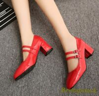 Sweet Women's Mary Jane Block Round Toe Patent Leather Ankle Strap Dress Shoes