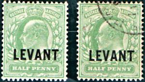 BRITISH LAVANT Edward Vll 1/2d pale Yellow Green ? Ll 1905 MOUNTED MINT & USED