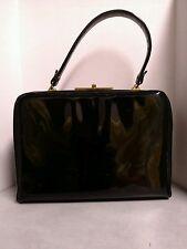 Black Verdi Purse Handbag Pocketbook Patent Leather Strap Rockabilly Retro Vtg