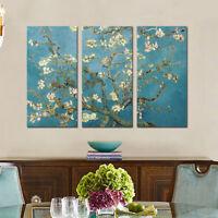 Van Gogh Almond Tree Blossom 3Pcs Painting Canvas Fine Wall Art Giclee Prints