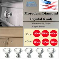 Crystal Glass Cabinet Knob Diamond Shape 30mm 40mm Drawer Cupboard Handle Pull