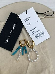 STUNNING TIMELESS PEARLY TURQUOISE PEARL GOLD HOOP DROP EARRINGS RRP £295 NEW