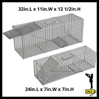 2 Pc Humane Animal Trap Steel Cage for Live Rodent Control Rat Squirrel Raccoons