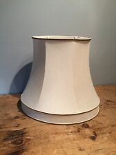 PRELOVED MID 20TH C CLASSIC FAUX SILK IVORY OVAL LINED LAMP SHADE / GIMBAL