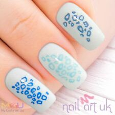 Blue Leopard Print Nail Stickers, Decals, Art, Tattoos 01.03.074