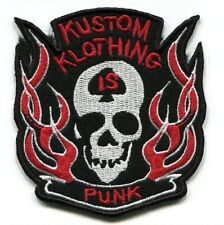 """Embroidered Iron on patches Skull & Fire Punk Badge 3.5""""x3"""" 052"""