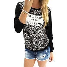 Womens Loose Long Sleeve Cotton Casual Blouse Shirt Tops Fashion T-shirt New