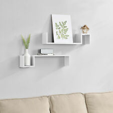 [en.casa]® Scaffale a muro set di 2 regale sospensione libreria cube cd bianco
