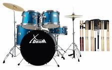 """22"""" Schlagzeug Set Einsteiger Drum Kit Set Becken Sticks Hocker DVD Schule Blau"""