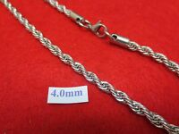 """18'-30""""  4 MM STAINLESS STEEL SILVER ROPE CHAIN SILVER NECKLACE- USA SELLER"""