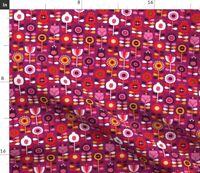 Scandinavian Flowers Retro Vintage Purple Fabric Printed by Spoonflower BTY