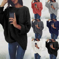 Women Winter O-Neck Long Sleeve Tops Chunky Knitted Sweater Pullover Jumper NEW
