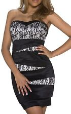 SeXy MiSS Damen Mini Kleid Party Dress Spitze Satin 34/36/38 schwarz creme Neu