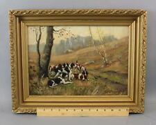 19thC Antique Sidney Brackett Oil Painting, Foxhound Hunting Dogs, Nr